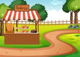 bakkerijwinkel in lege parkscène vector