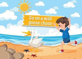 idioom poster met ga op een wilde ganzenjacht vector