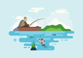 Piranha Fishing Illustratie Vector