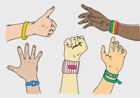 Polshorloge op de hand zetten collectie Hand getekende vectorillustratie