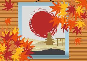 Japanse Esdoorn Met Japanse Verf Achtergrond vector