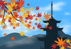 Japanse Esdoorn Met Japanse Gebouwachtergrond vector