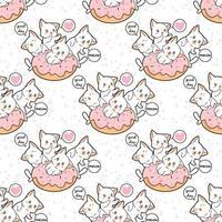 naadloos kawaiikatkarakter met roze doughnutpatroon vector
