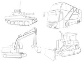 voertuigen schetsen cartoon kleurplaat vector