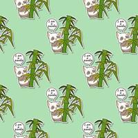 naadloze kawaiikat met bamboepatroon vector