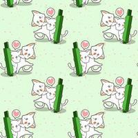 naadloze kawaiikatkarakters en groen kandelaarpatroon