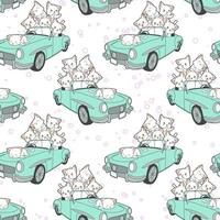 naadloze getrokken kawaiikatten in blauw autopatroon
