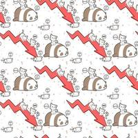 kawaiikat en pandakarakters met rood pijlpatroon
