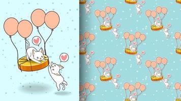 schattige kat vliegen op gouden munt met ballonnen patroon vector