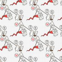 naadloze kawaiikatten die rode pijl op patroon opheffen