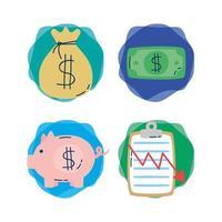 bundel van economie en financiën pictogrammen vector