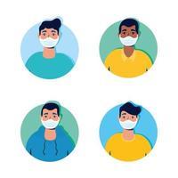 groep mannen die karakters van gezichtsmaskers dragen vector