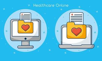 online gezondheidszorg technologie icon set