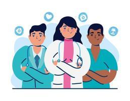 medisch personeel met artsen en verpleegsters vector