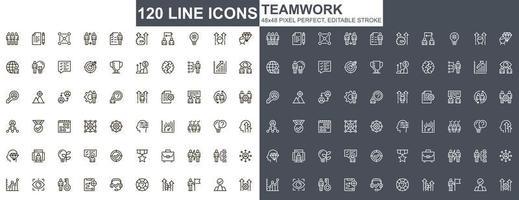 teamwerk dunne lijn pictogrammen instellen vector
