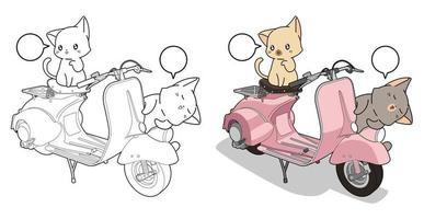 schattige katten en motorfiets cartoon kleurplaat voor kinderen vector