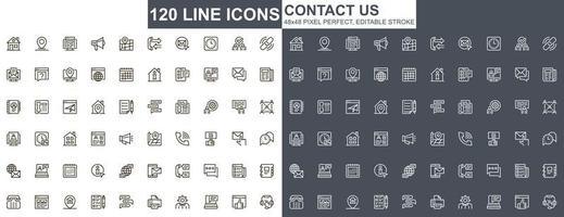 neem contact met ons op dunne lijn iconen set vector