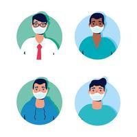 groep mannen die karakters van gezichtsmaskers dragen