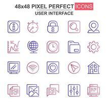 gebruikersinterface kleurrijke dunne lijn icon set