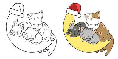 cartoon schattige katten op de maan kleurplaat