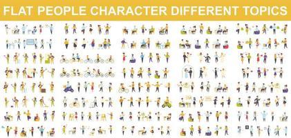 bundel van karakters van platte mensen