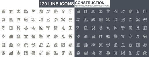 bouw dunne lijn iconen set