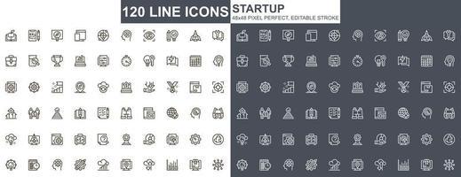 opstarten dunne lijn iconen set vector