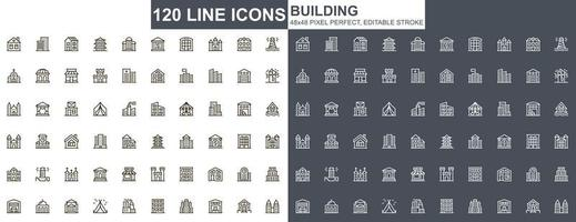 het bouwen van dunne lijn iconen set vector