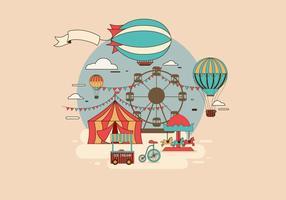 dirigible over theme park vector