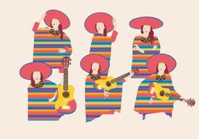 Vrouwen in Poncho Vectoren