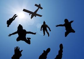 Skydiving Silhouet Gratis Vector