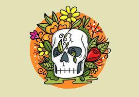 Schedel bloemen vector