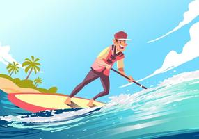 Jonge Mannetje Op Een Paddleboard Vector