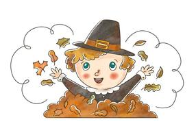 Leuke Pilgrim Kid Spelen Met Herfstbladeren Voor Thanksgiving Vector