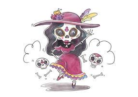 Leuke Catrina Karakter Dansen En Glimlachen Voor Dia De Muertos Vector