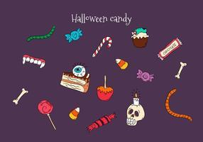 Hand getekende kleurrijke Halloween Candies vectoren