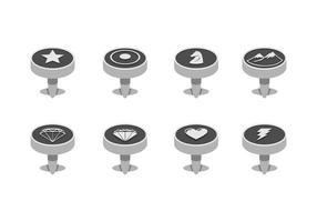 Zilveren Manchetknoop Gratis Vector