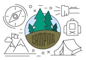 Lineaire Camping Illustratie vector