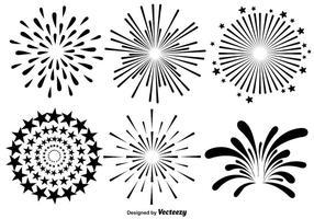 Vector Set Van Vuurwerk Illustraties Op Witte Achtergrond