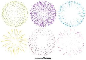 Vector Set Van Veelkleurige Vuurwerk Pictogrammen