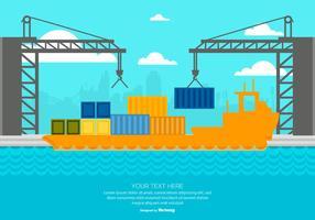 Leuke Flat Style Harbor Illustratie vector