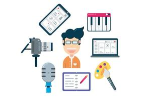 Artistieke Content Creator Icons vector