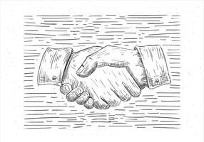 Vrije Hand getekende Vector Hand Shake Illustratie