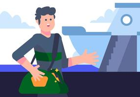 Cruise Passenger bij de Harbour Vector