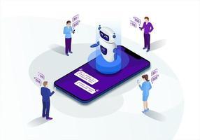 chatbot isometrische marketing vector