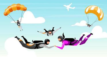 stel samen parachutespringen vector