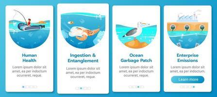 plastic vervuiling in oceaanprobleem onboarding mobiele app-scherm vector