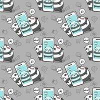 naadloze kawaiipanda gevangene in patroon van de mobiele telefoon vector
