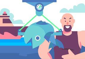 Vissen bij de haven vector