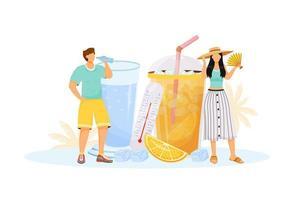 mensen die zomerdrankjes drinken vector